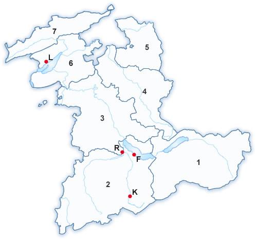Carte d'arrondissements de surveillance de la pêche